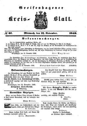 Greifenhagener Kreisblatt vom 21.11.1849