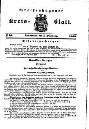 Greifenhagener Kreisblatt vom 01.12.1849