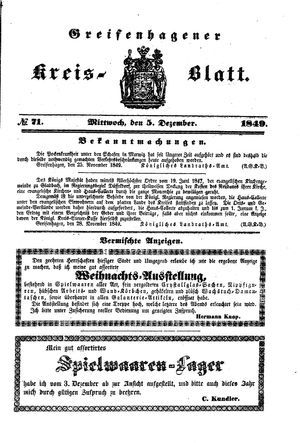 Greifenhagener Kreisblatt on Dec 5, 1849