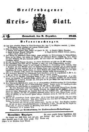 Greifenhagener Kreisblatt vom 08.12.1849
