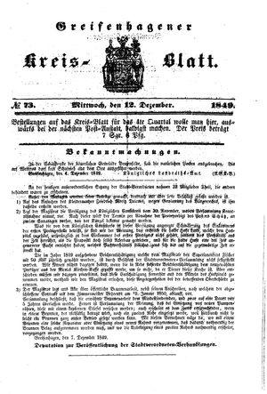 Greifenhagener Kreisblatt vom 12.12.1849
