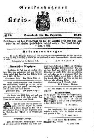 Greifenhagener Kreisblatt vom 15.12.1849