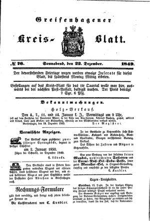 Greifenhagener Kreisblatt vom 22.12.1849