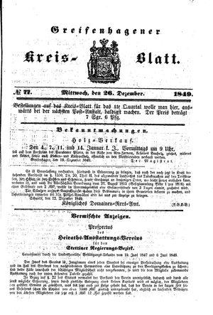 Greifenhagener Kreisblatt vom 26.12.1849