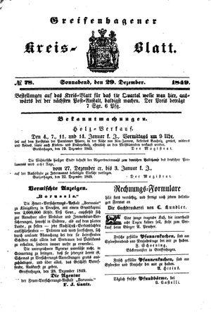 Greifenhagener Kreisblatt vom 29.12.1849