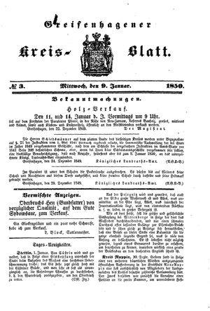 Greifenhagener Kreisblatt on Jan 9, 1850