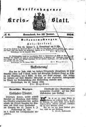 Greifenhagener Kreisblatt vom 12.01.1850