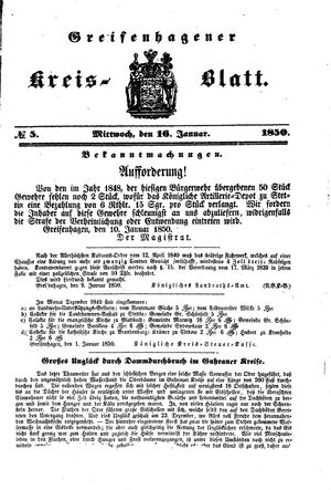 Greifenhagener Kreisblatt vom 16.01.1850