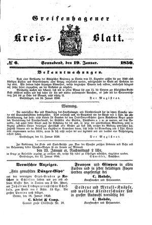 Greifenhagener Kreisblatt vom 19.01.1850