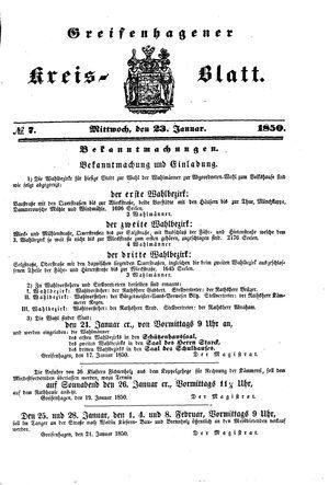 Greifenhagener Kreisblatt on Jan 23, 1850