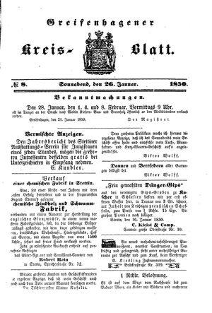 Greifenhagener Kreisblatt vom 26.01.1850