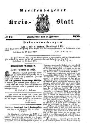 Greifenhagener Kreisblatt vom 02.02.1850