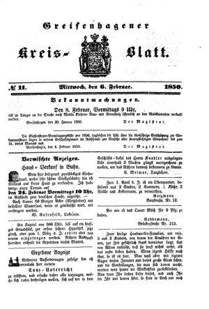 Greifenhagener Kreisblatt vom 06.02.1850