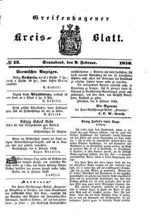 Greifenhagener Kreisblatt vom 09.02.1850