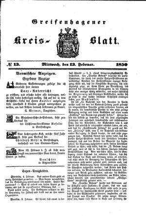 Greifenhagener Kreisblatt vom 13.02.1850