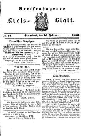 Greifenhagener Kreisblatt vom 16.02.1850