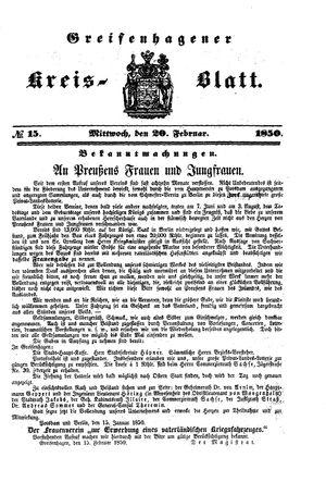 Greifenhagener Kreisblatt on Feb 20, 1850
