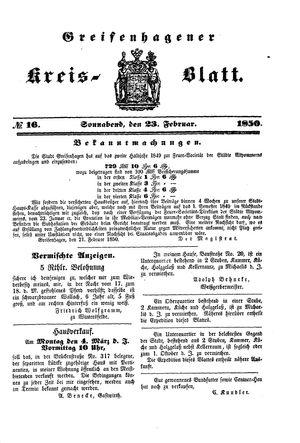 Greifenhagener Kreisblatt vom 23.02.1850