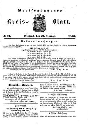 Greifenhagener Kreisblatt vom 27.02.1850