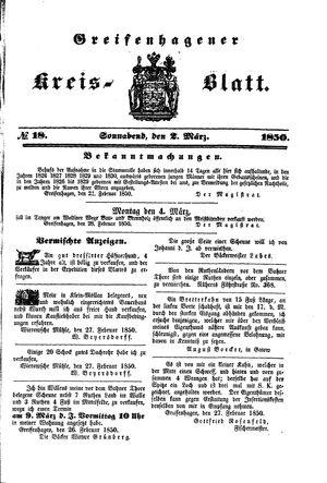 Greifenhagener Kreisblatt vom 02.03.1850