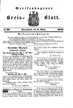 Greifenhagener Kreisblatt vom 09.03.1850