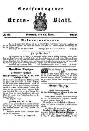 Greifenhagener Kreisblatt vom 13.03.1850