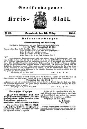 Greifenhagener Kreisblatt vom 16.03.1850