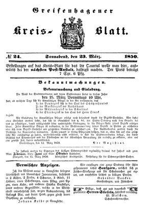 Greifenhagener Kreisblatt vom 23.03.1850