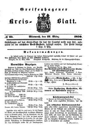 Greifenhagener Kreisblatt vom 27.03.1850