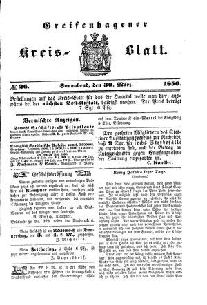 Greifenhagener Kreisblatt on Mar 30, 1850