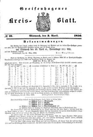 Greifenhagener Kreisblatt vom 03.04.1850