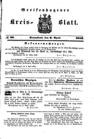 Greifenhagener Kreisblatt vom 06.04.1850