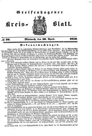 Greifenhagener Kreisblatt on Apr 10, 1850