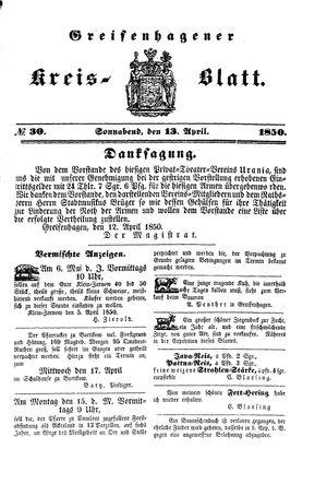Greifenhagener Kreisblatt vom 13.04.1850