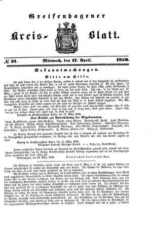 Greifenhagener Kreisblatt vom 17.04.1850