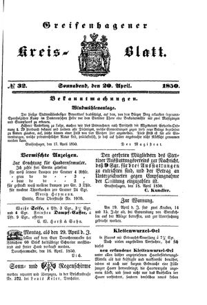 Greifenhagener Kreisblatt vom 20.04.1850
