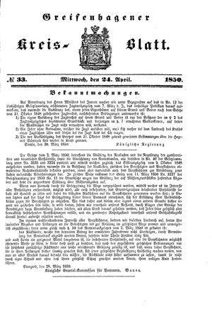 Greifenhagener Kreisblatt vom 24.04.1850