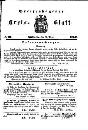 Greifenhagener Kreisblatt on May 1, 1850