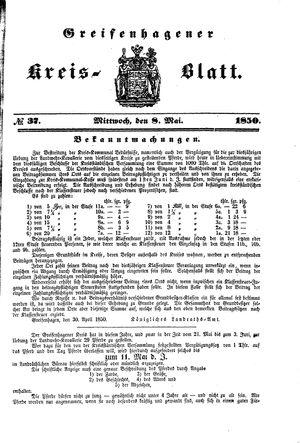 Greifenhagener Kreisblatt on May 8, 1850