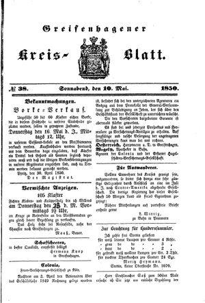 Greifenhagener Kreisblatt vom 10.05.1850
