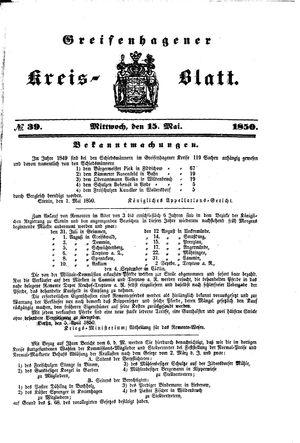 Greifenhagener Kreisblatt vom 15.05.1850