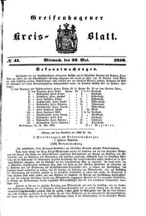 Greifenhagener Kreisblatt vom 22.05.1850