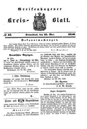 Greifenhagener Kreisblatt vom 25.05.1850