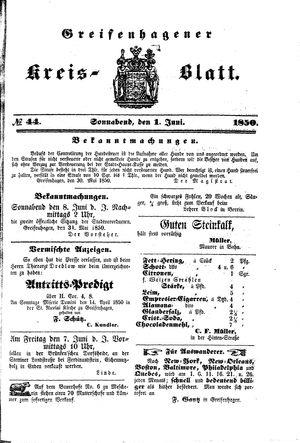 Greifenhagener Kreisblatt vom 01.06.1850