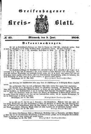 Greifenhagener Kreisblatt vom 05.06.1850