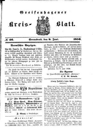 Greifenhagener Kreisblatt vom 08.06.1850