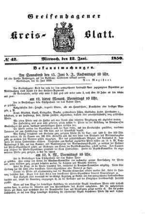 Greifenhagener Kreisblatt vom 12.06.1850