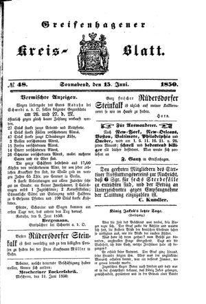Greifenhagener Kreisblatt vom 15.06.1850