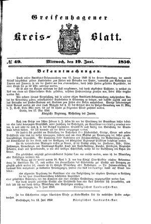 Greifenhagener Kreisblatt vom 19.06.1850