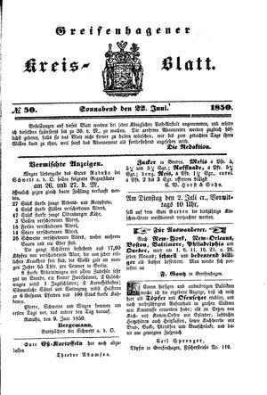 Greifenhagener Kreisblatt vom 22.06.1850